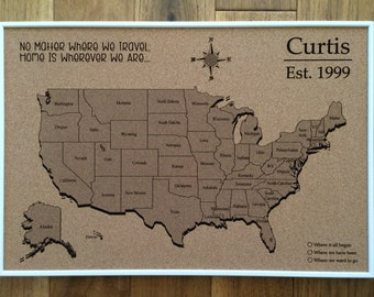 Push Pin Travel Map Etsy - Us travel map on cork board