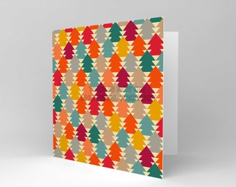 Christmas Card - Trees Retro Pattern Colours Blank Xmas Greetings CS429