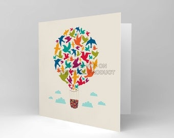 New Hot Air Baloon Birds Greetings Blank Greetings Birthday Card Art Cs385