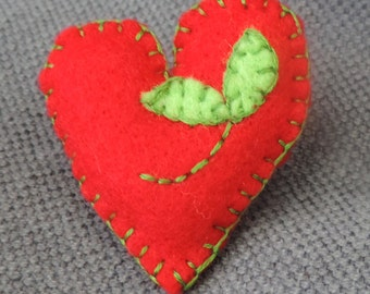 Hand stitched, felt, heart brooch, red and green.