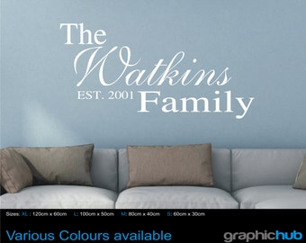 Personalised family wall art quote, Wall Sticker, Decal