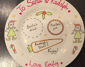 Hand painted personalised Christmas Plate for Santa~Christmas tradition~Treat Plate~Rudolph~ Mince Pie~ Fun for chidren