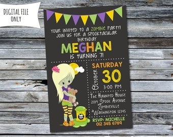 Girls Zombie Invitation / Halloween Birthday Invitation (Personalized) Digital Printable File