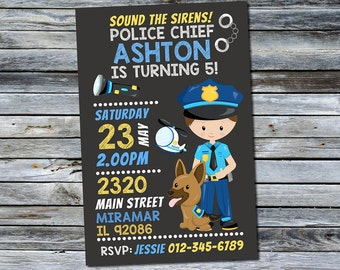 Policeman Invitation / Police Birthday Invitation (Personalized) Digital Printable File
