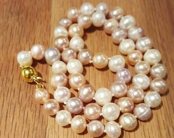 SALE: Natural 8-9mm Multi color Freshwater Pearl Necklace. 18inches