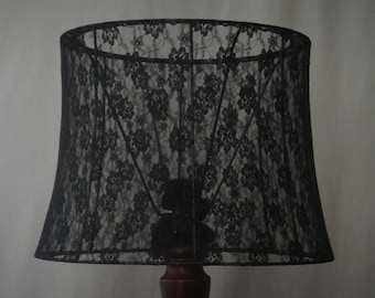 "14"" Black Lace Lampshade"
