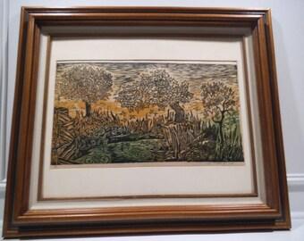 1964 Signed Rare Woodblock Art Piece 17/21