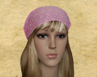 Pink cotton bandana, Wide headbands, Womens head bands, Organic headbands, Headbands bandana, Bandanna hearbands,  Hippie bandana