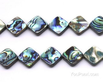Abalone shell beads, 14x14mm dia-square, natural loose paua beads, abalone paua shell full strand necklace for ladies, ABA1160