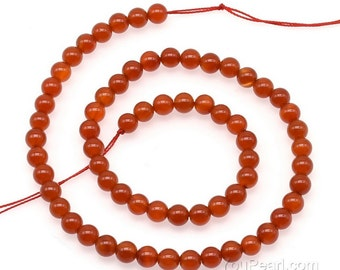 Carnelian beads, 6mm round, genuine stone beads, natural carnelian round beads, red agate beads, gemstone strand jewelry for ladies, CNL2020