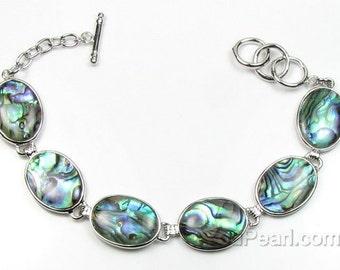 Abalone bracelet, oval paua shell bracelet, blue green bracelet, silver plated brass abalone jewelry, natural shell bracelet, SH1410-AB