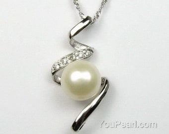 White pearl pendant, natural freshwater pearl pendant, sterling 925 silver pearls pendant, real pearl necklace, 9-10mm, F1310-WP
