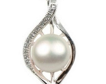 White pearl pendant, 925 sterling silver eye shape pearl pendant, genuine freshwater pearl necklace, wedding party gift, 8-9mm, F2920-WP