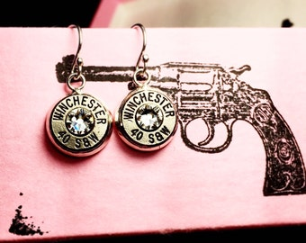 Sterling silver dangling bullet earrings