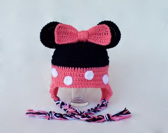 Crochet Minnie Mouse hat - Disney inspired hat - Crochet Disney hat - Minnie hat newborn-adult