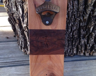 Bottle opener//magnet catch//handmade//handcrafted//woodworking//gift for him//fathers day gift//great gift