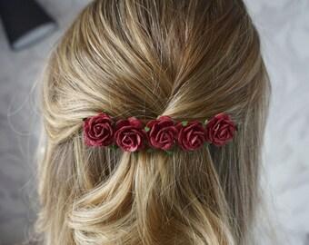 Flower Barrette, Burgundy Hair Clip, Flower hair accessory, Bridal Barrette, wedding barrette, Wine barrette, burgundy barrette, Wine hair