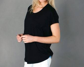Women's Bamboo Tee Shirt - Relaxed Fit Black