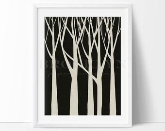 Tree Print, Forest Trees Woodland Themed Nursery Art Print, Nature Wall Art Decor, Minimalist Home Decor, Woodland Wall Art, Not Framed