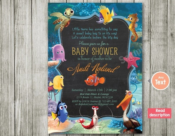 finding nemo nemo invitation baby shower invitation nemo
