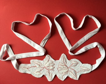 White belt  with white and red embroidery for bridal dress