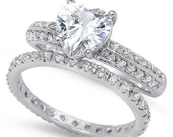 Sterling Silver 925 Heart Shape Engagement Ring Bridal Wedding Set