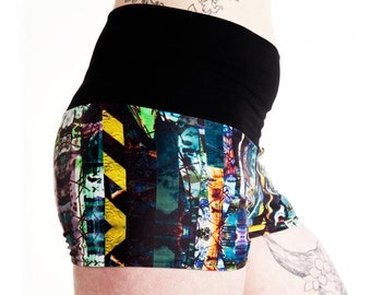 Graffiti Stripe Fold Over Shorts. Pole Dance Shorts. Pole Fitness Shorts. Booty Shorts. Yoga Shorts.