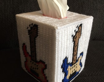 Guitar Plastic Canvas Tissue Box Cover