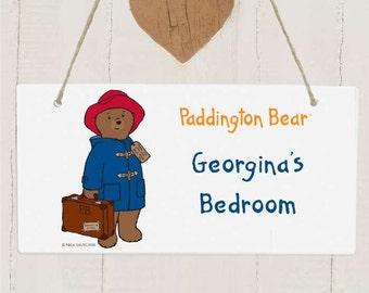 Personalised Paddington Bear Wooden Sign, Children's bedroom door sign.