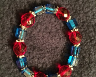 Red and blue stretch bracelet