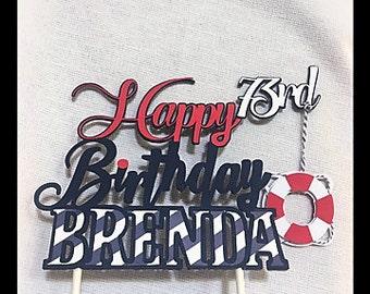 Nautical Cake Topper/Happy Birthday Topper