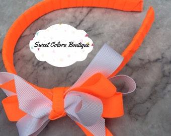 Neon Orange & White Headband