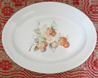 Vintage White Platter With Peach, Clinchfield, Southern Potteries, SPI, Oval Serving Dish, Meat Platter, Farmhouse Platter, Rustic, Country