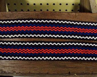 Retro 60s Wide Black Multi Color Stripe Cotton Trim Zig Zag