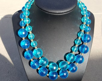 Blue double stack beaded necklace