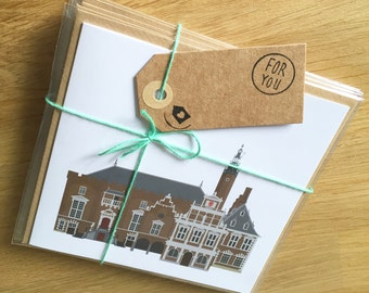 Gift set 5 cards with illustrations of old, dutch buildings