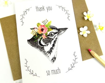Greeting Card Thank You So Much Vintage Bird Flower Card