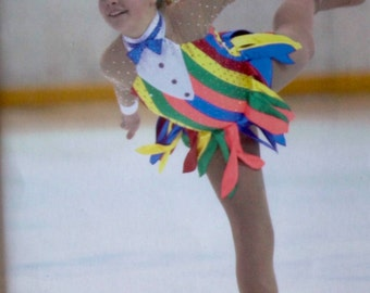 Striped Figure Skating Competition Dress with Tatters Skirt