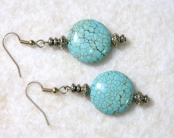 Southwestern Style Turquoise Color Howlite Bead Pierced Earrings Silver Tone