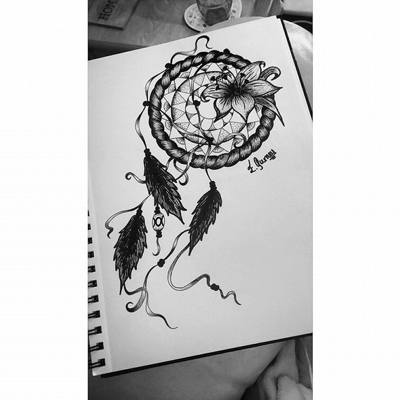 Items Similar To Dream Catcher And Flower Tattoo Design