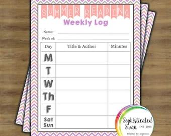 Printable Summer Reading Chart (PINK); Reading Log; Kids Summer Journal; Reading Journal; Instant Download