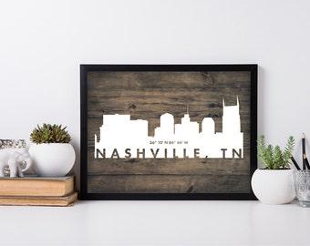 Nashville City Art, coordinate art, house warming, newly weds, tourist, travel, traveler, gift, home decor, print, poster