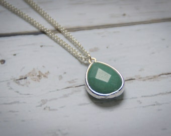 Silver Spring Green Layering Necklace