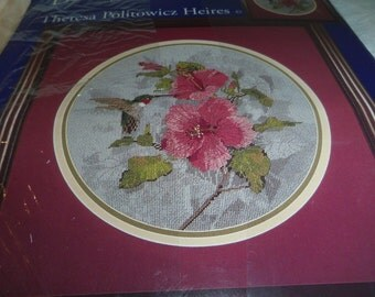 Needlepoint Kit, Jewels Hummingbird Hibiscus Opened, All Contents Included, Candamar