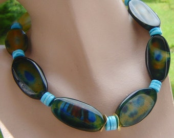 Necklace agate turquoise and Silver 925