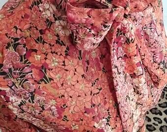 Clean, Vintage, Helga, 1970's, Floral, Crepe,  Orange, Rust, Red, Ivory, Black, Two-Piece,  Blouse, Skirt