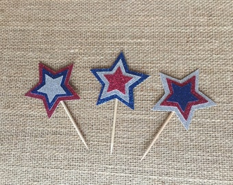 Independence Day / 4th of July patriotic red silver and blue glitter cupcake topper picks 12ct