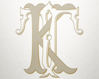 Interlocking Monogram Design - KT TK - Interlocking Monogram - Vintage