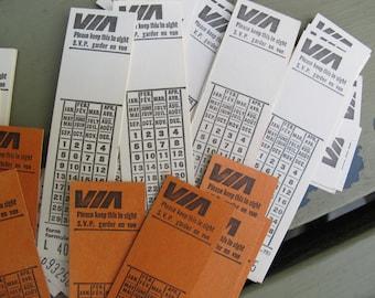 Vintage VIA rail train tickets / Vintage 1970's Canadian train tickets / Numbered train tickets / Unused train tickets / Orange tickets