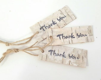 Thank You Tag Natural Birch Bark Tags Favor tags Wedding Favors Gift tags Rustic Wedding Gift tag Rustic Decor wooden Rustic Tags
